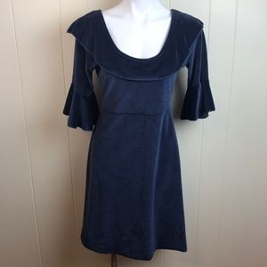 Ganesh Imports Blue Scoop Neck Bell Sleeve Dress